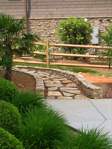 Stepping Stones With Stacked Stone Walls