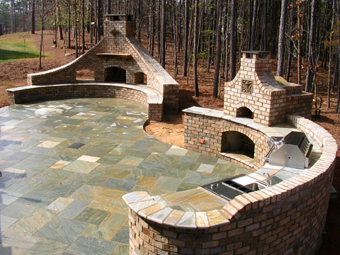 Asian Bluestone Patio, Fireplace And Outdoor Kitchen With Built In Pizza  Oven