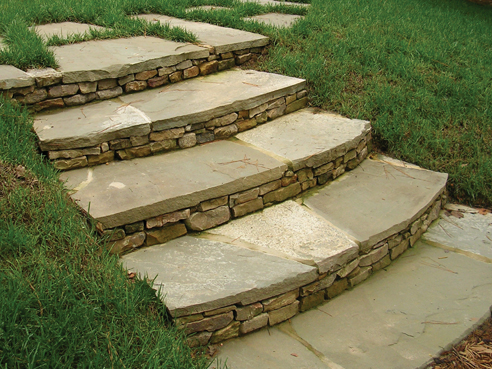 Irregular Bluestone Step Treads With Stacked Stone Risers